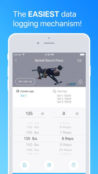 Workout Tracker Gym Log Exercise Trainer by JEFIT Screenshot