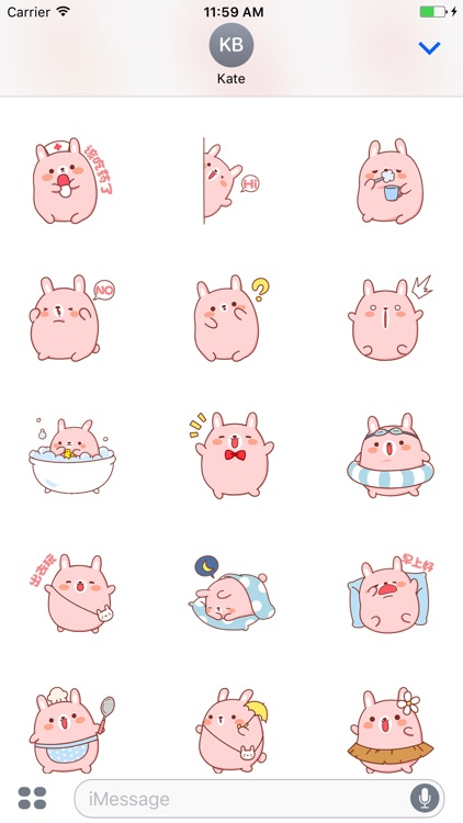 Pink Rabbit Stickers For iMessage