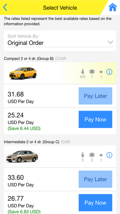 Hertz Car Rental Screenshot