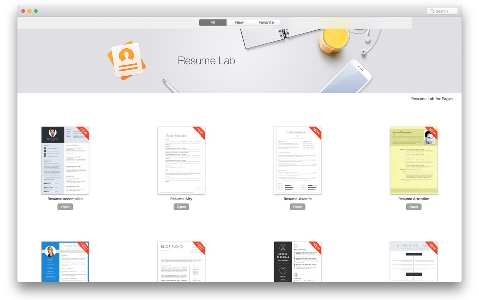 Resume CV Lab for Pages for Mac 1.2.1 破解版 – Pages专业简历模版素材