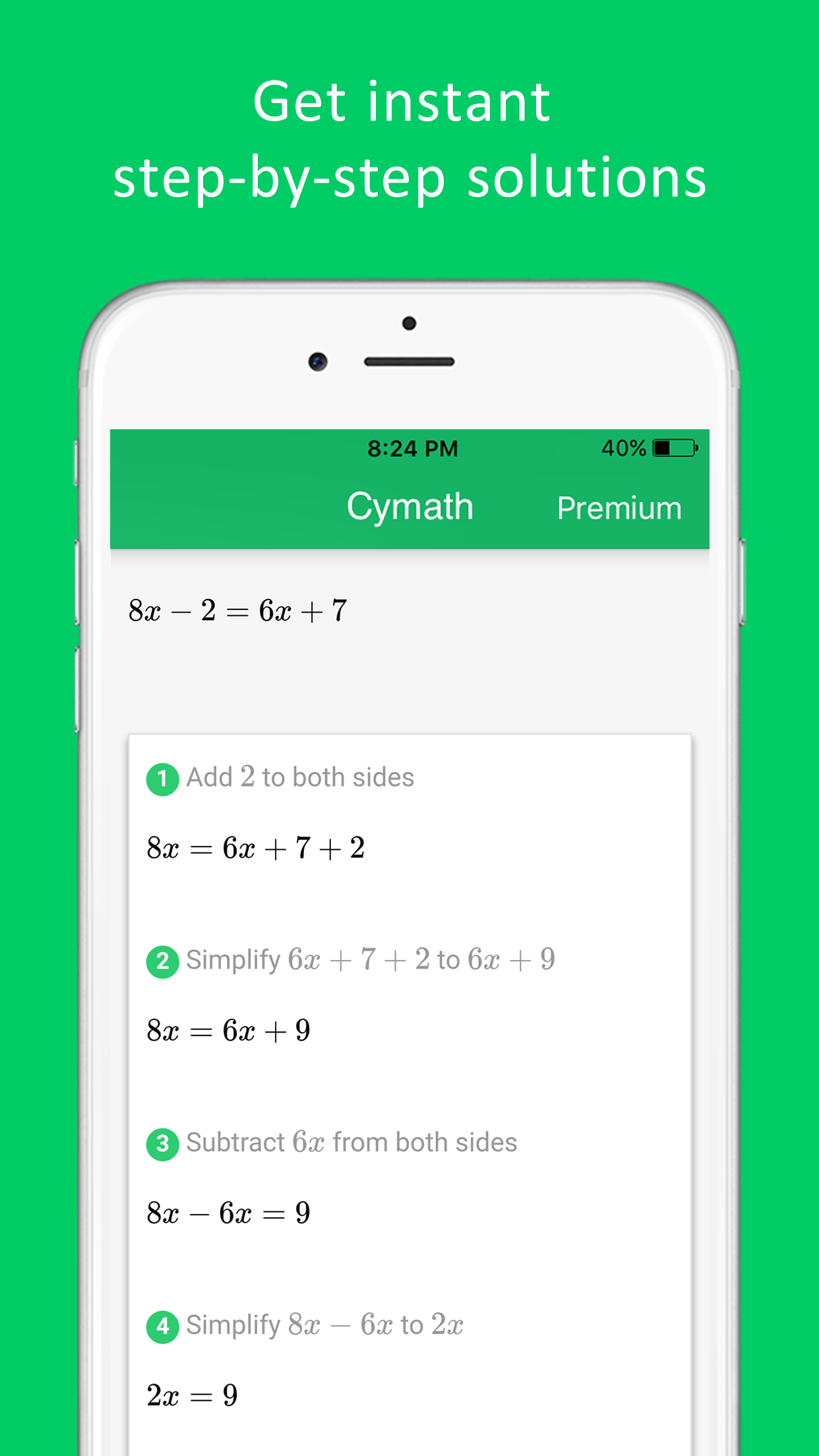Cymath - Math Problem Solver Screenshot