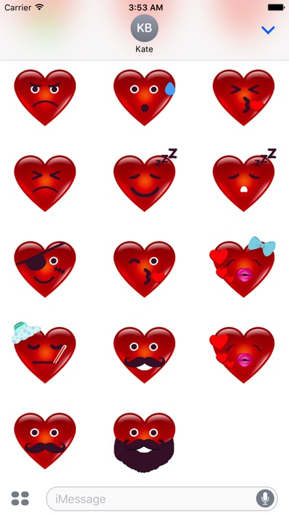3D Heart Face Happy San Valentine's Day Stickers screenshot-4