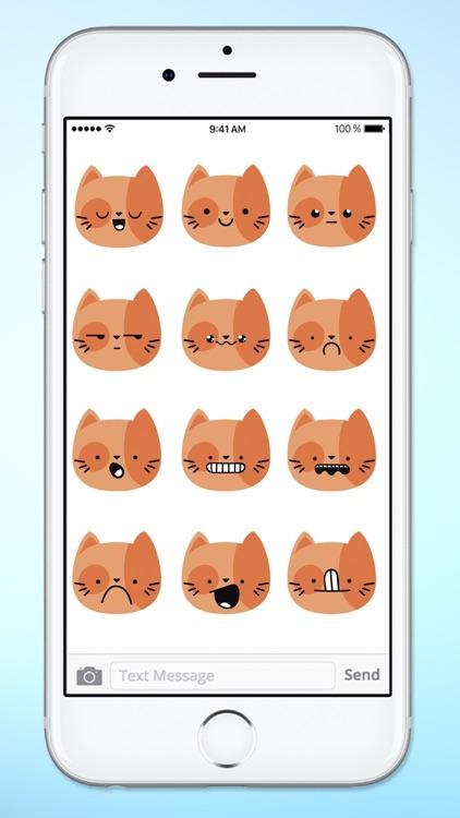 Orange Kitty Cat Face Emojis Sticker Pack