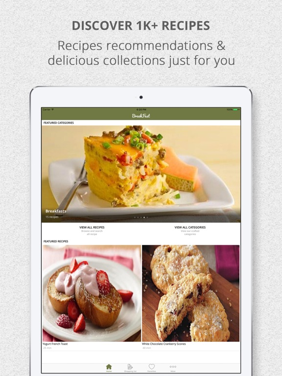 screenshot 1 for healthy breakfast recipes and shopping list
