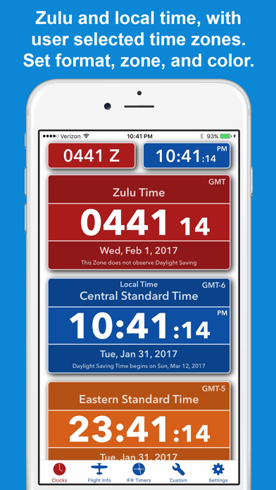 ZivTimer - Flight Timer with Zulu and World Time screenshot one
