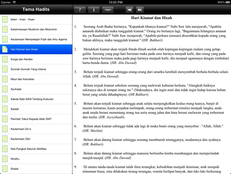 Paket Hadits for iPad screenshot-2