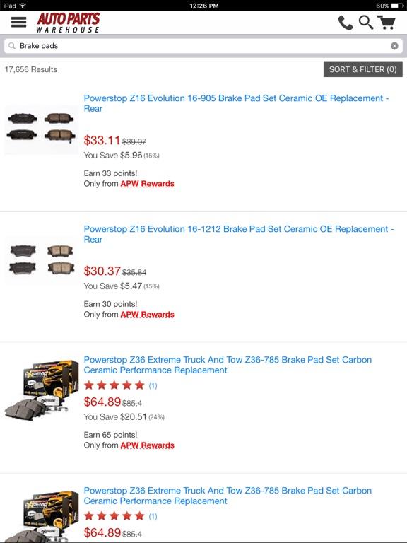 Auto Parts Warehouse iPad