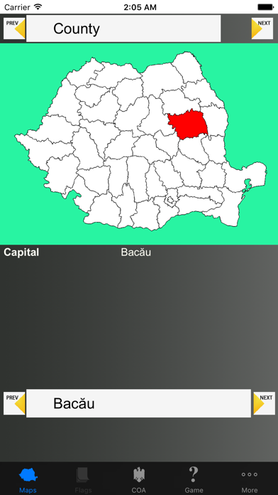Romania Region Maps and Capitals screenshot one