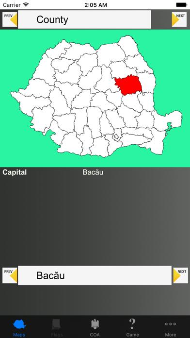 Romania Region Maps and Capitals screenshot one