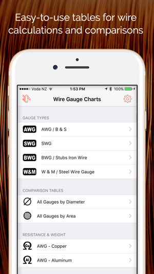 Wire gauge charts size tables for awg swg bwg on the app store screenshots keyboard keysfo