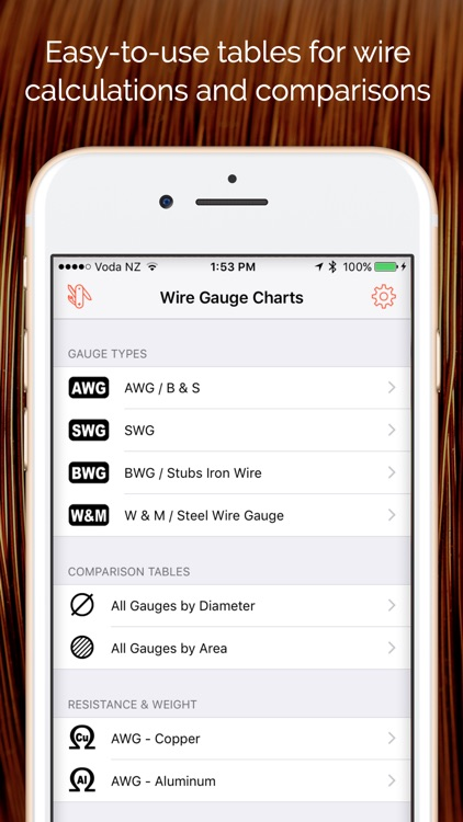 Wire Gauge Charts - Size tables for AWG, SWG, BWG screenshot-0