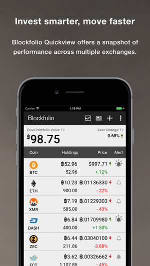 Blockfolio Bitcoin Altcoin App Screenshot