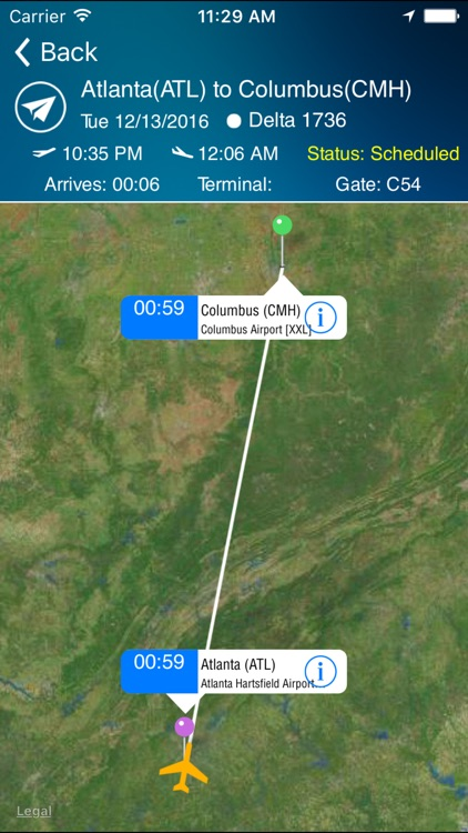 Columbus Airport (CMH) + Flight Tracker screenshot-2