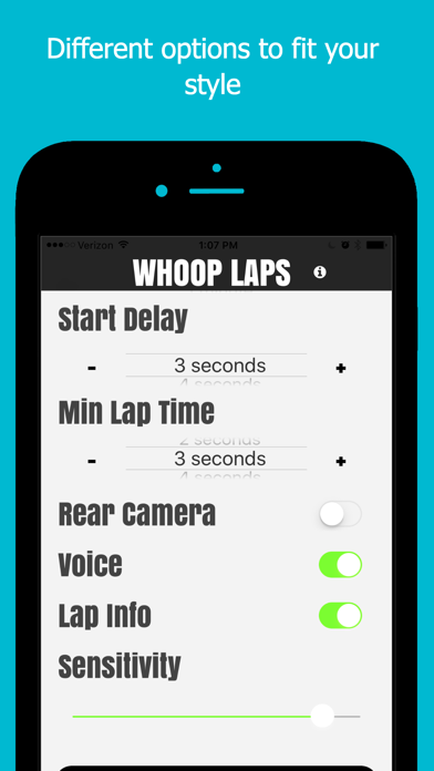 Whoop Laps - Motion activated lap timing system screenshot two