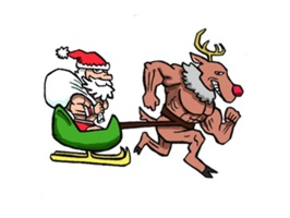 Merry Christmas Wiht Gymnast Santa Claus Stickers