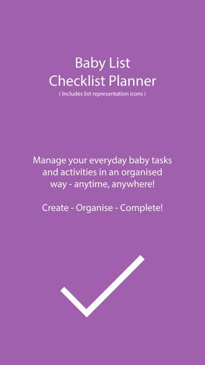 Baby list planner - Checklist Task/Activities/ToDo
