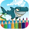Shark coloring book for kids games