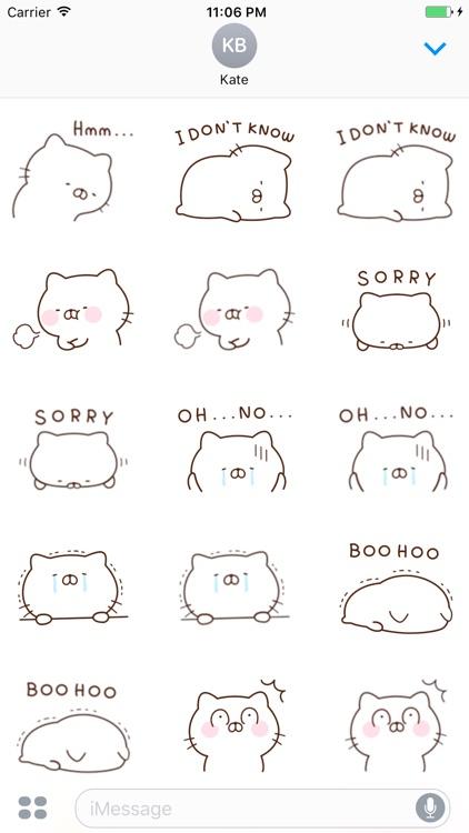 Mina The Pink Cat English Sticker screenshot-3