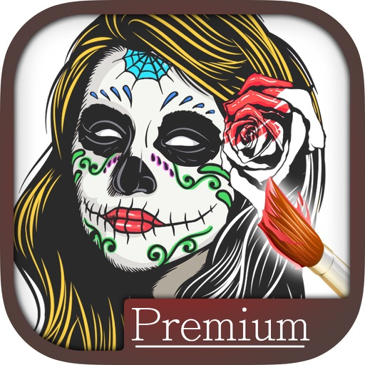 Sugar Mexican skull coloring for adults - Pro