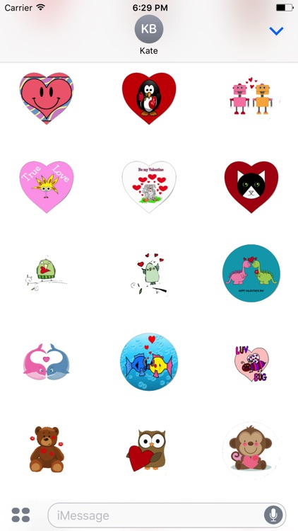 Cartoon Valentines Day Stickers For iMessage