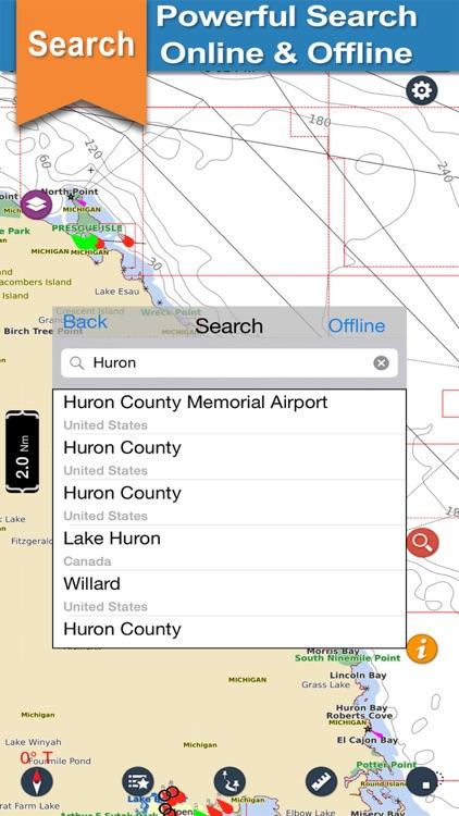 Huron Lake GPS offline nautical chart for boaters screenshot-3