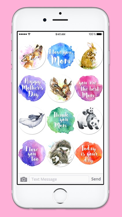 I Love You Mom Watercolor Mothers Day Sticker Pack