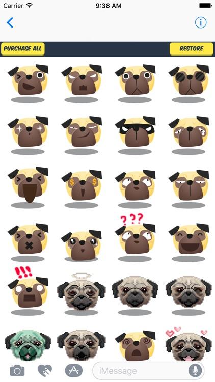 Pug Stickers - Cute Pug Emojis Pack