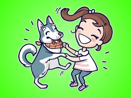 Cute Dog Husky and Girl Stickers