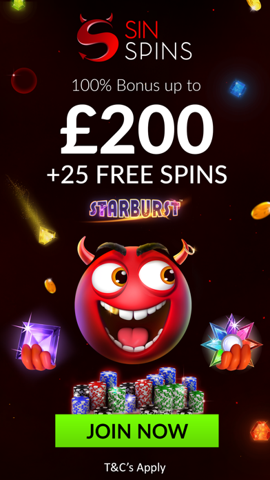 Sin Spins Casino: Spin and Win with 5 Star Spins screenshot one