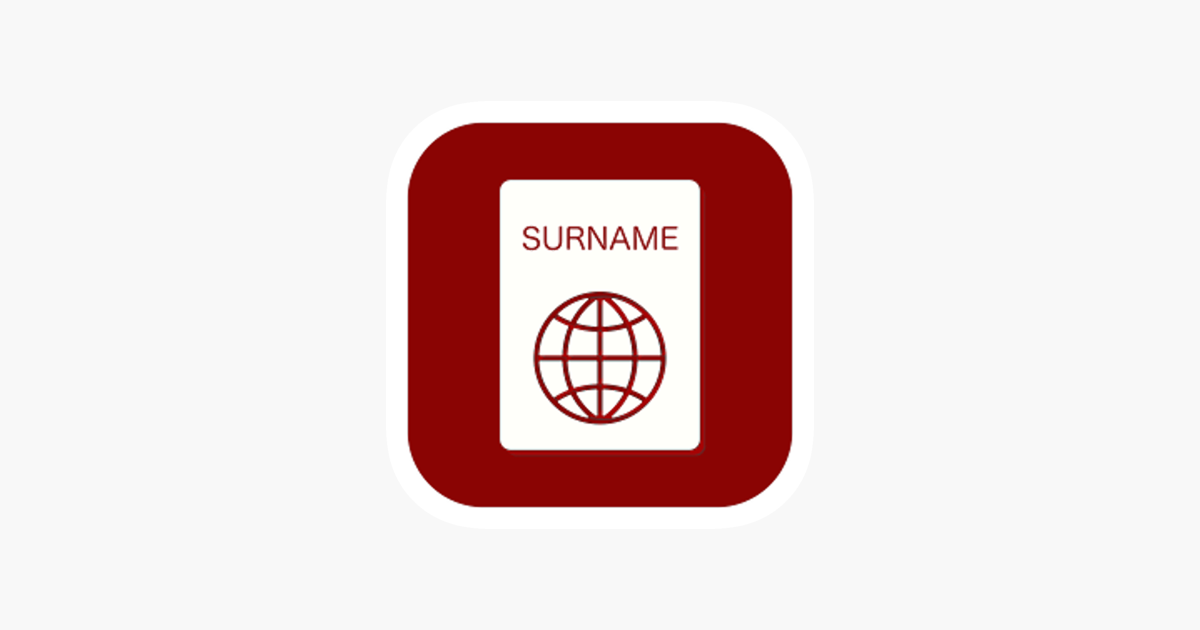 A list of surnames on the App Store