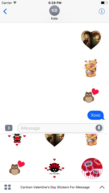 Cartoon Valentines Day Stickers For iMessage screenshot-3