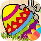 Easter eggs magic coloring pages for kids icon