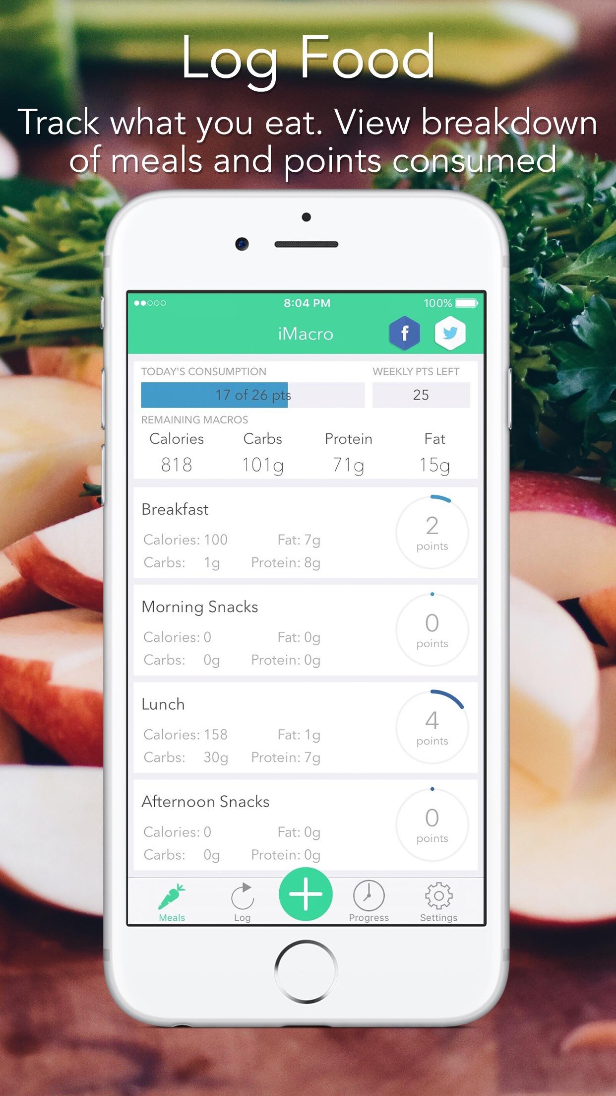 iMacro - Diet, Weight and Food Score Tracker Screenshot