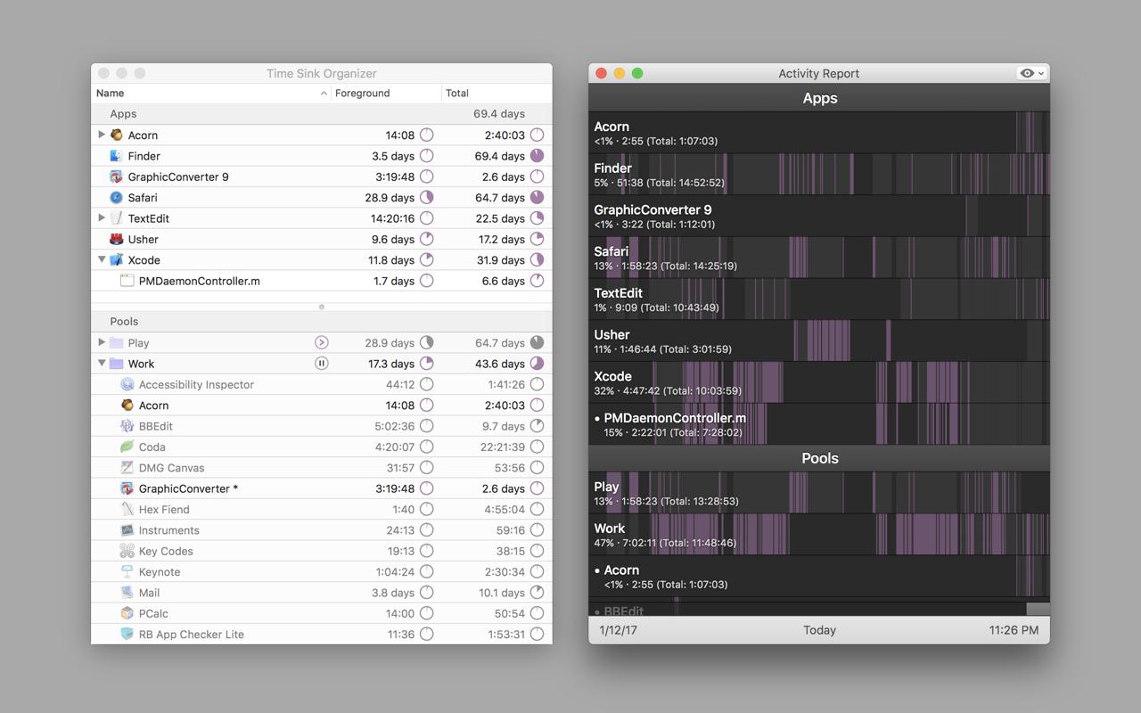 Time Sink 2.2.2 Mac 破解版 记录你使用各种Mac软件的时间