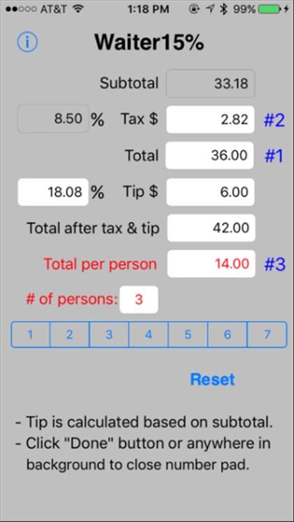 Waiter15% Tip Calculator screenshot-3