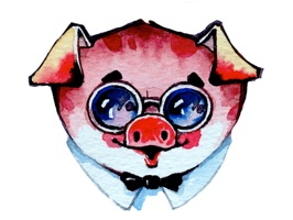 Check out cute Watercolor Piggies
