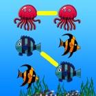 Draw line to twinned marine animals cartoon icon