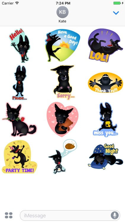 Nero the Black Dog Cute Funny Comic Pet Stickers