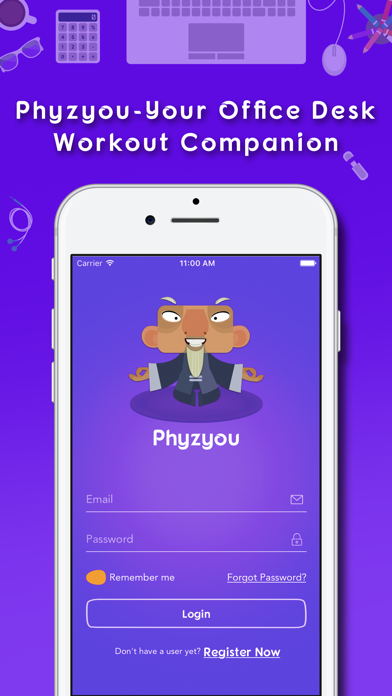 PhyzYou - Easy Desk Workout & Quick Exercises screenshot one