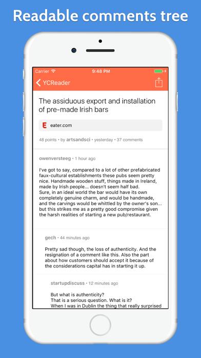 YCReader - hacker news app powered by official API screenshot two