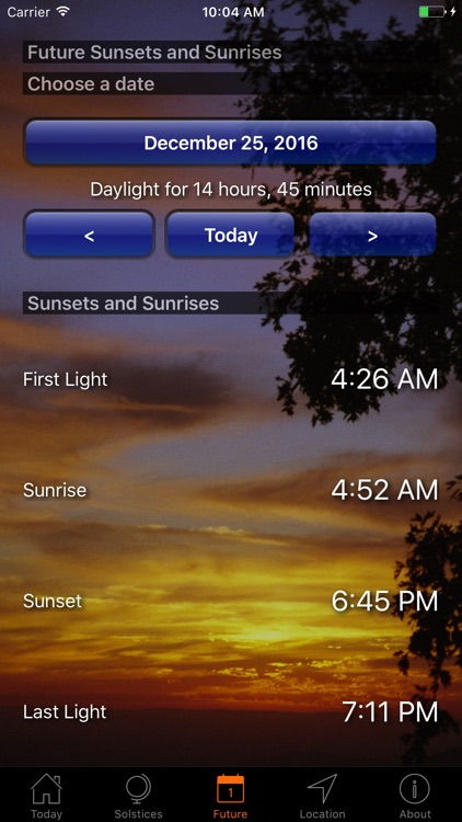 Sunset and Sunrise Times
