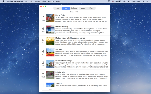 Reminisce Journal On The Mac App Store