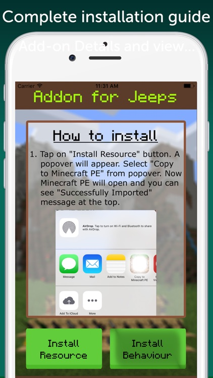 AddOn for Jeeps for Minecraft PE