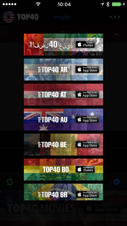 TOP40 US music charts - pop, hip-hop, country by beCreative tech ltd