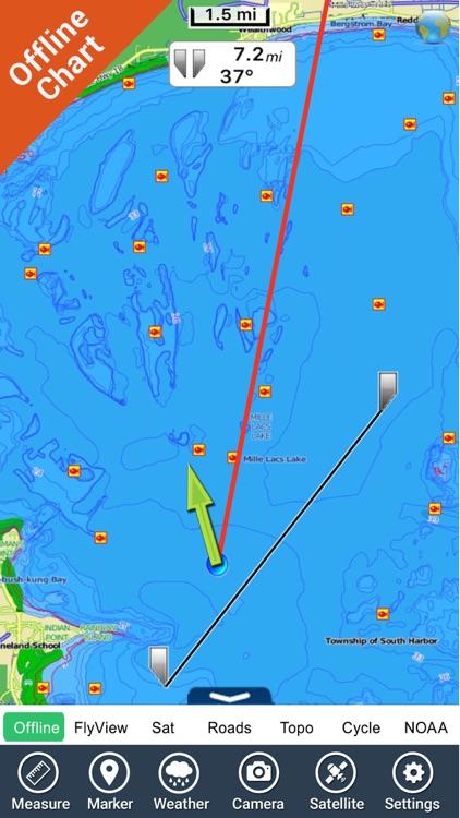 Minnesota lakes charts - GPS fishing map Navigator