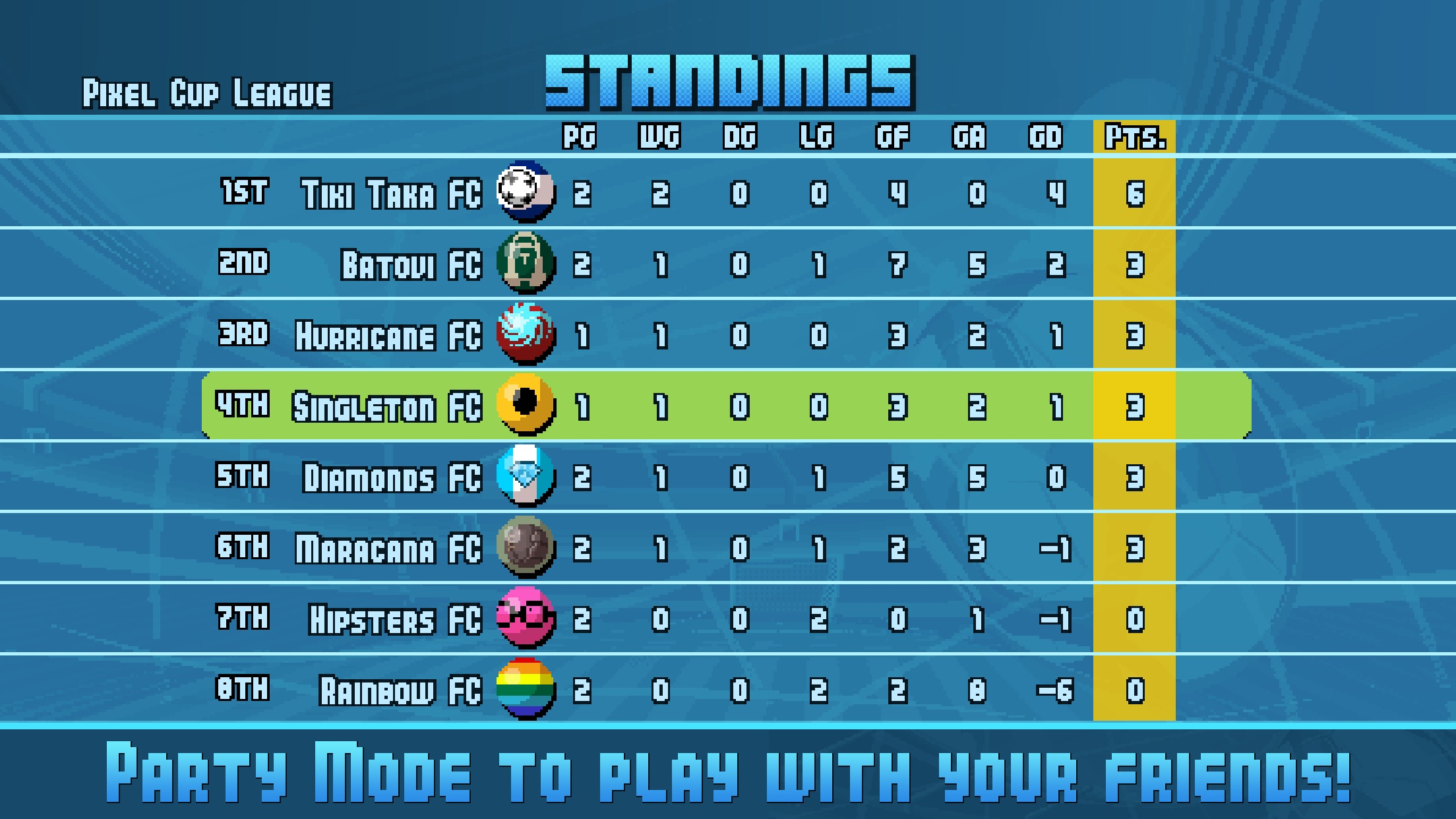 Screenshot do app Pixel Cup Soccer 16