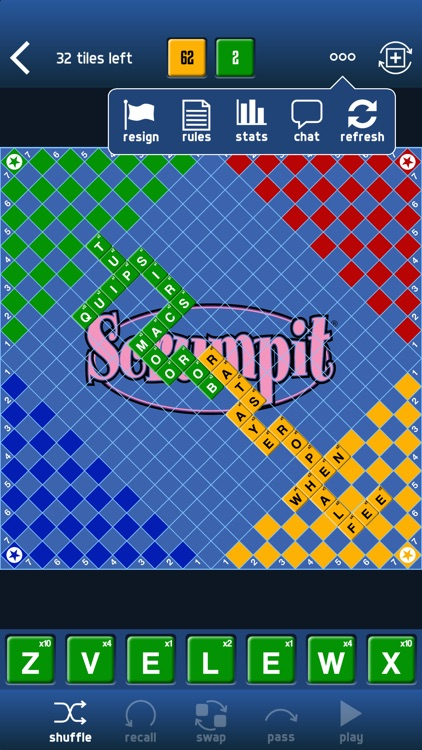 SCRUMPIT - a scrabble / crossword style board game