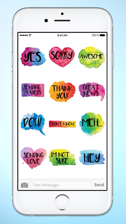 Watercolor Words Text Sticker Pack screenshot-4