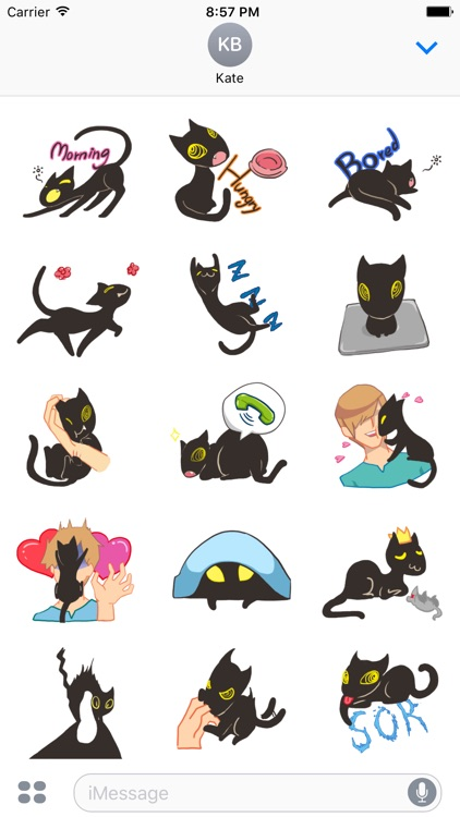 Midnight the Cat Stickers for iMessage