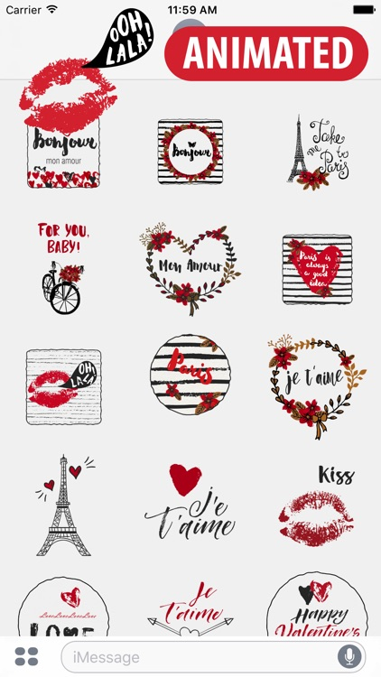 Animated Fall in Love in Paris for iMessage